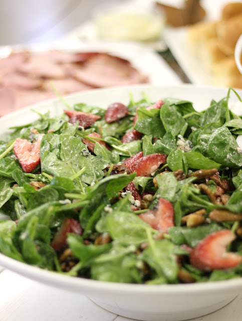 Strawberry & Spinach Salad With Poppy Seed Dressing And Pecans