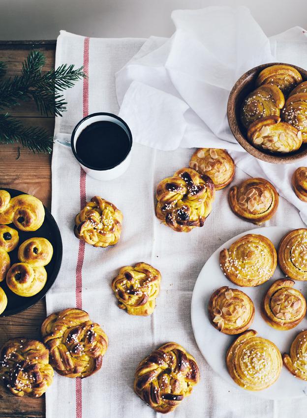 Lussekatter, vanilla saffron buns and almond paste saffron rolls
