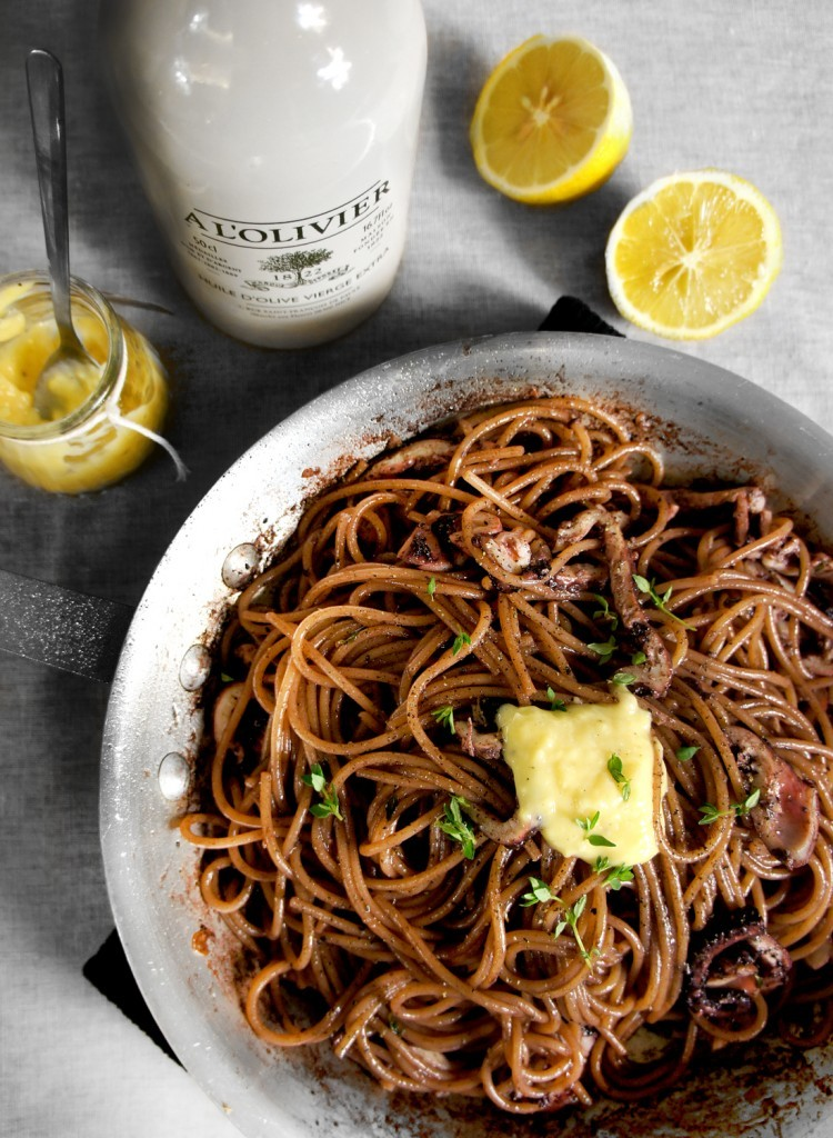 Red Wine Braised Octopus Spaghetti