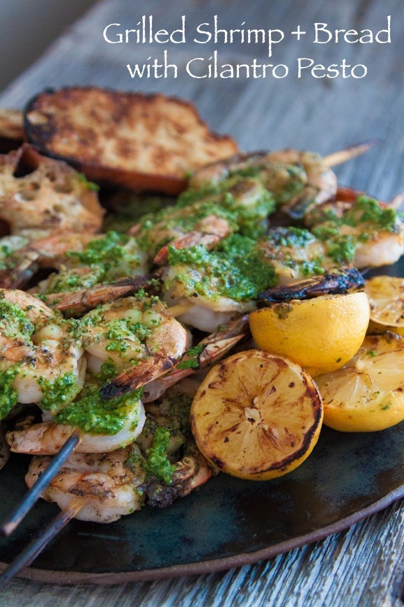 Grilled Shrimp and Bread with Cilantro Pesto via beautiful-foods