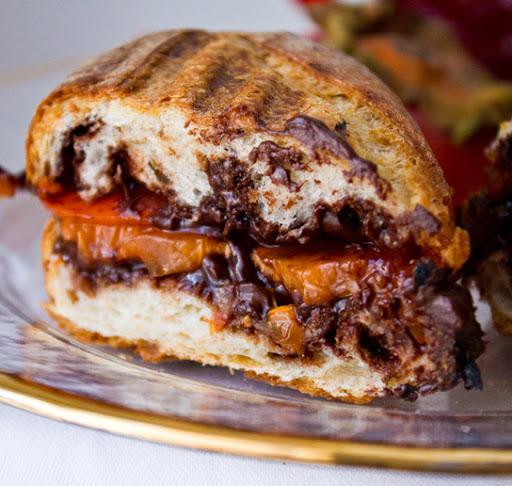 vegan chocolate covered persimmon panini
