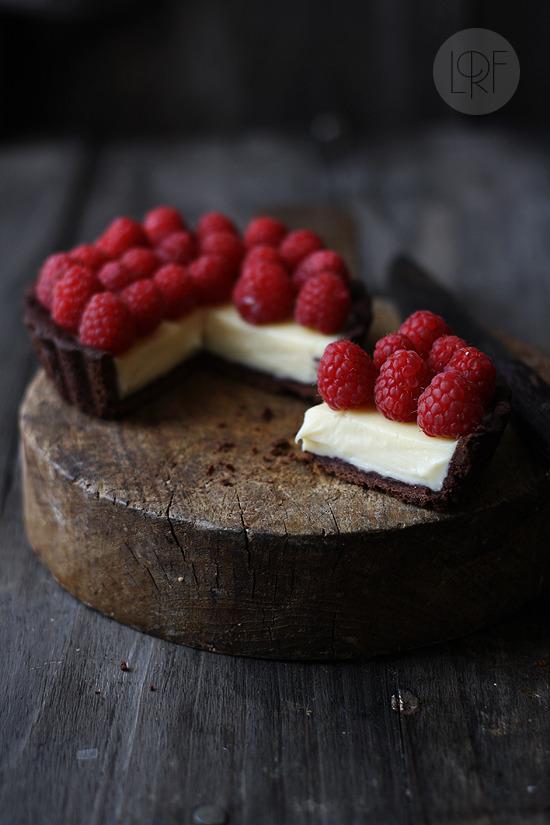 Tartaleta de chocolate, mascarpone y frambuesas