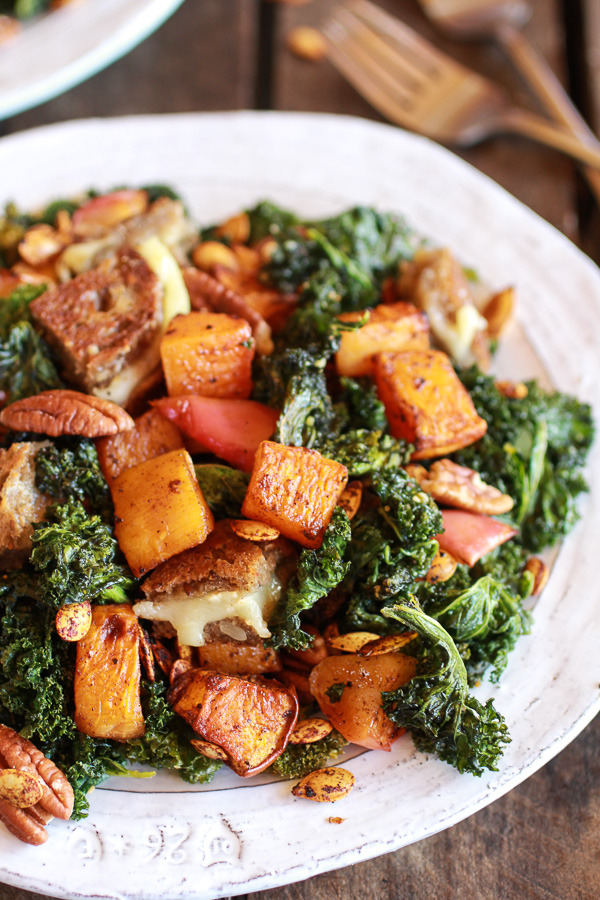 Crispy Kale Roasted Autumn Salad with Brie Grilled Cheese Croutons