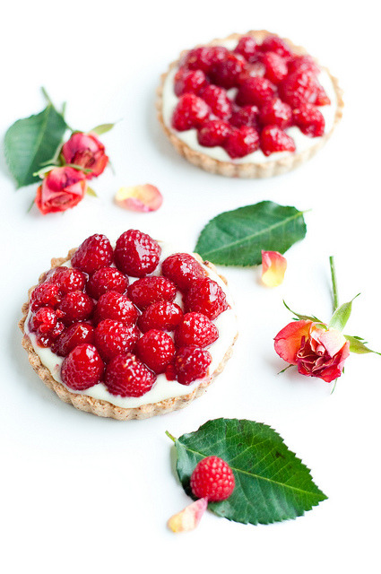 Raspberry Rose and Hidden Chocolate Tarts by stephsus on Flickr.