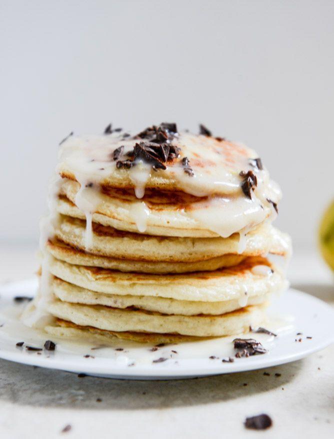 whipped ricotta pancakes with chocolate & lemon glaze