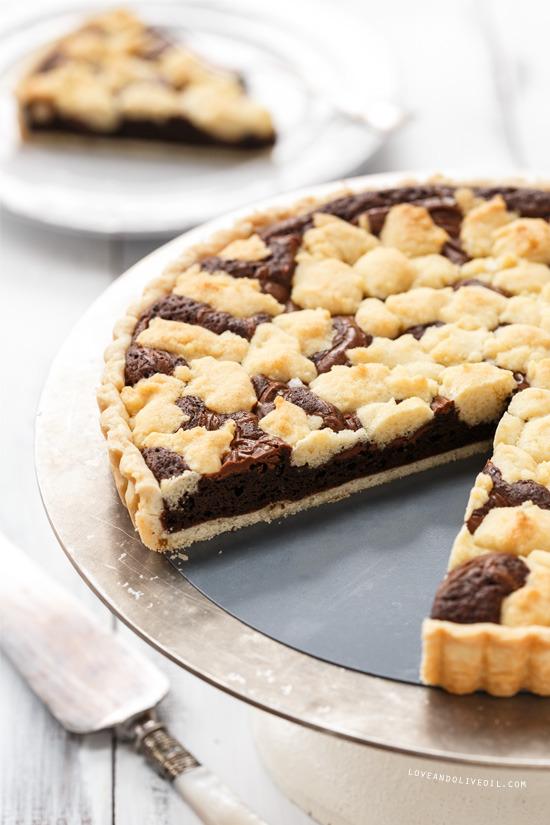 Nutella Swirl Brownie Sugar Cookie Tart