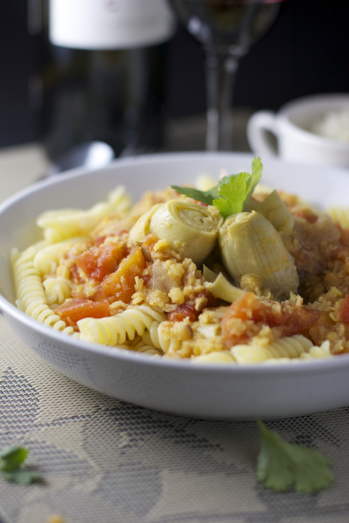 Pasta with Lentils and Artichoke Hearts