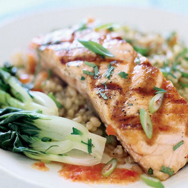 Fire Roasted Wild Salmon with Stir Fried Brown Rice