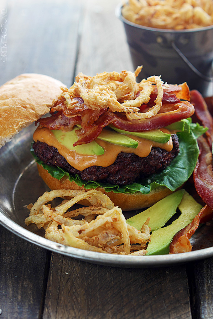 Bacon Burgers with BBQ Mayo and Onion Strings