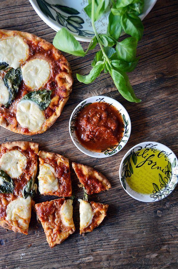 Grilled Naan Break Mozzarella and Basil Pizzas