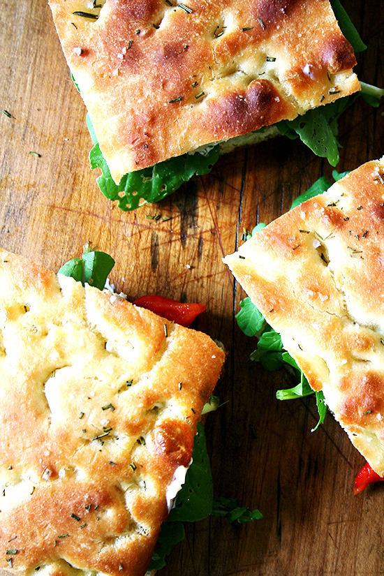 Focaccia, Roasted Red Pepper and Arugula Sandwiches
