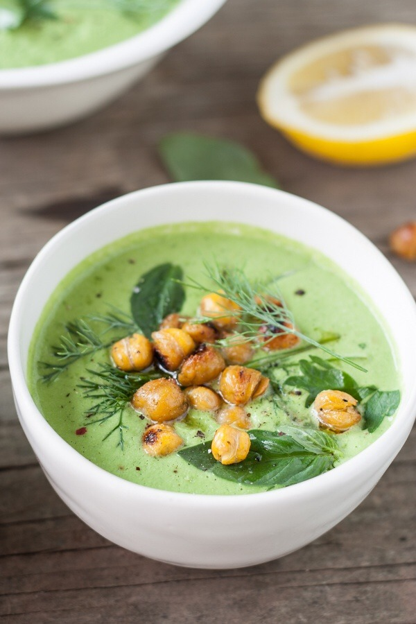 Chilled Cucumber-Tahini & Herb Soup with Cumin-Spiced Roasted ChickpeasRECIPE