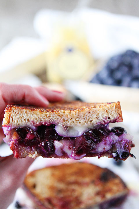 Blueberry, brie & lemon curd grilled cheese