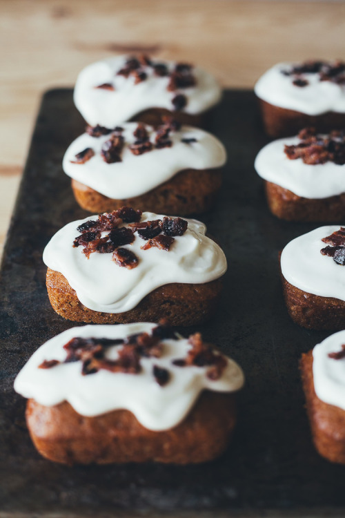 Pumpkin Mini Cakes with Cream Cheese Glaze and Candied Bacon Bits My Name Is Yeh for Jones Dairy Farm