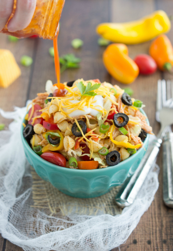 Chicken Taco Pasta Salad with Catalina Dressing