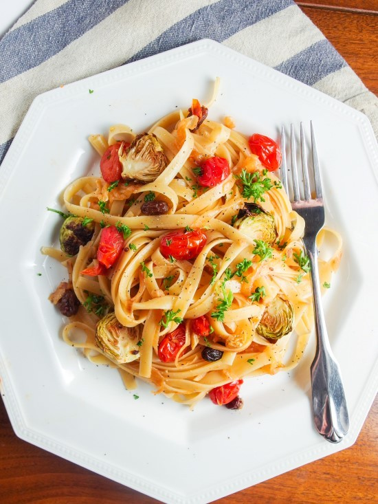 Caramelized Onion Fettuccine with Smoked Cherry Tomatoes