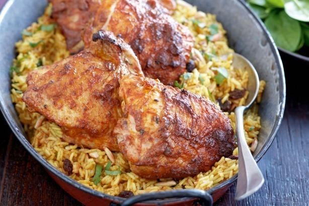 Tikka Masala Roast Chicken with Spiced Pulau Rice