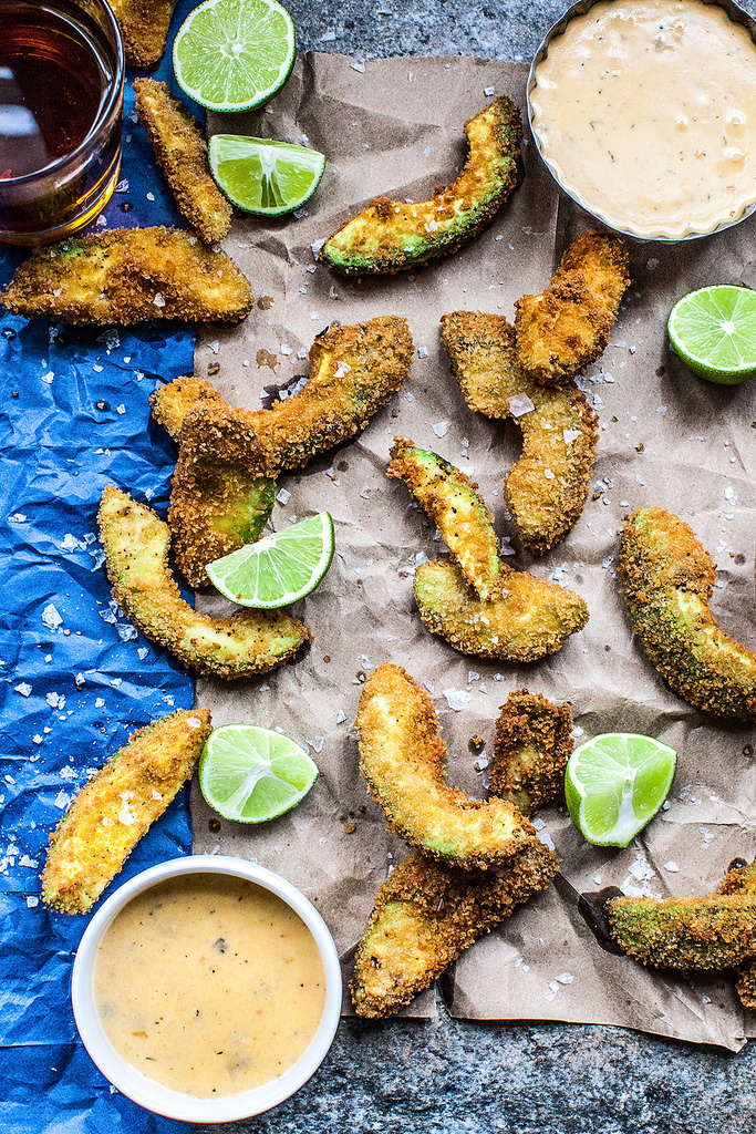 Crispy Avocado Fries with Melty Cheese Dip
