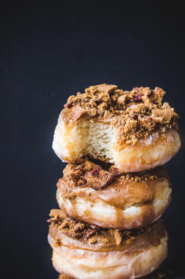 Coffee Biscoff Bacon Doughnuts