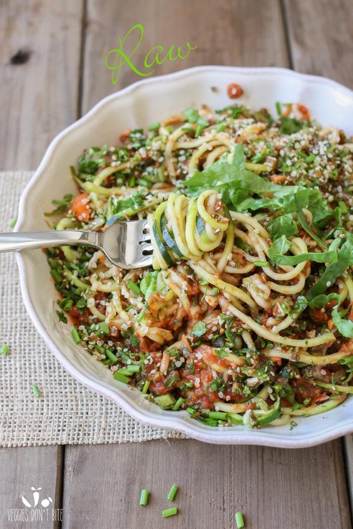 Raw Zucchini Noodles & Veggies