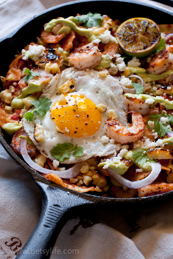 Shrimp and Grilled Corn Chilaquiles Recipe