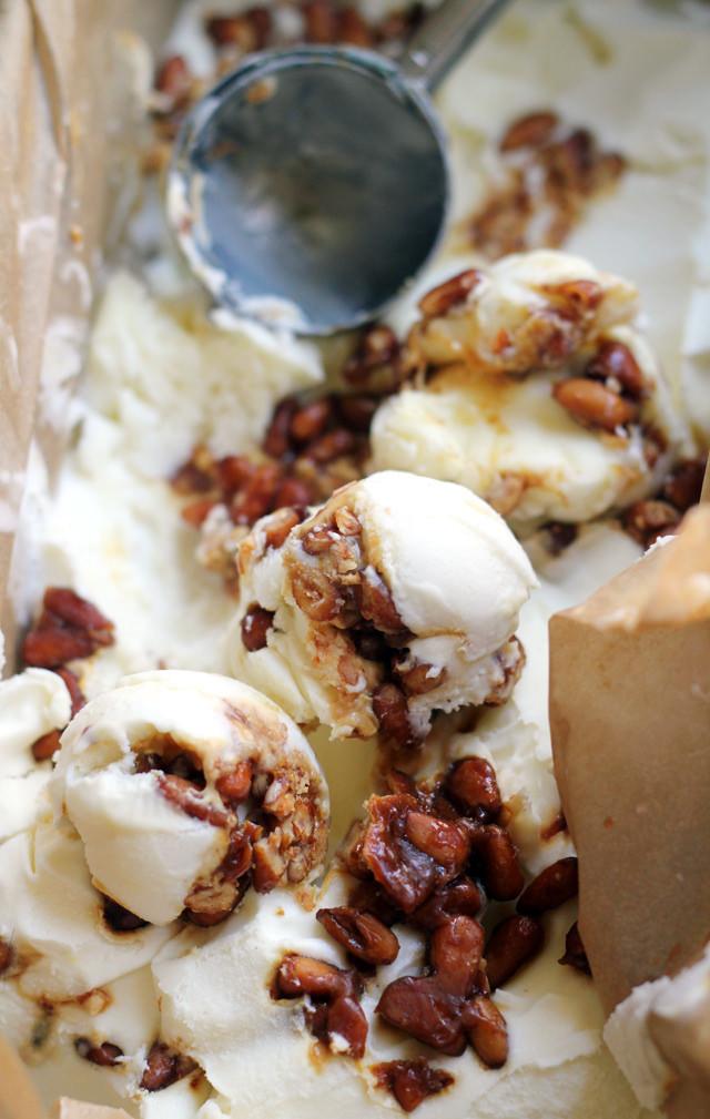 Cinnamon Basil and Pine Nut Praline Ice Cream