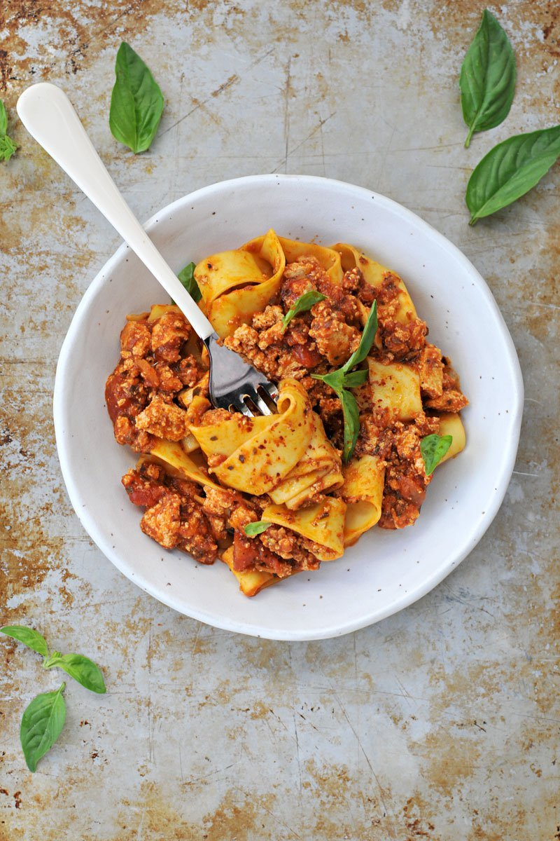 Fennel Spiced Tofu Bolognese