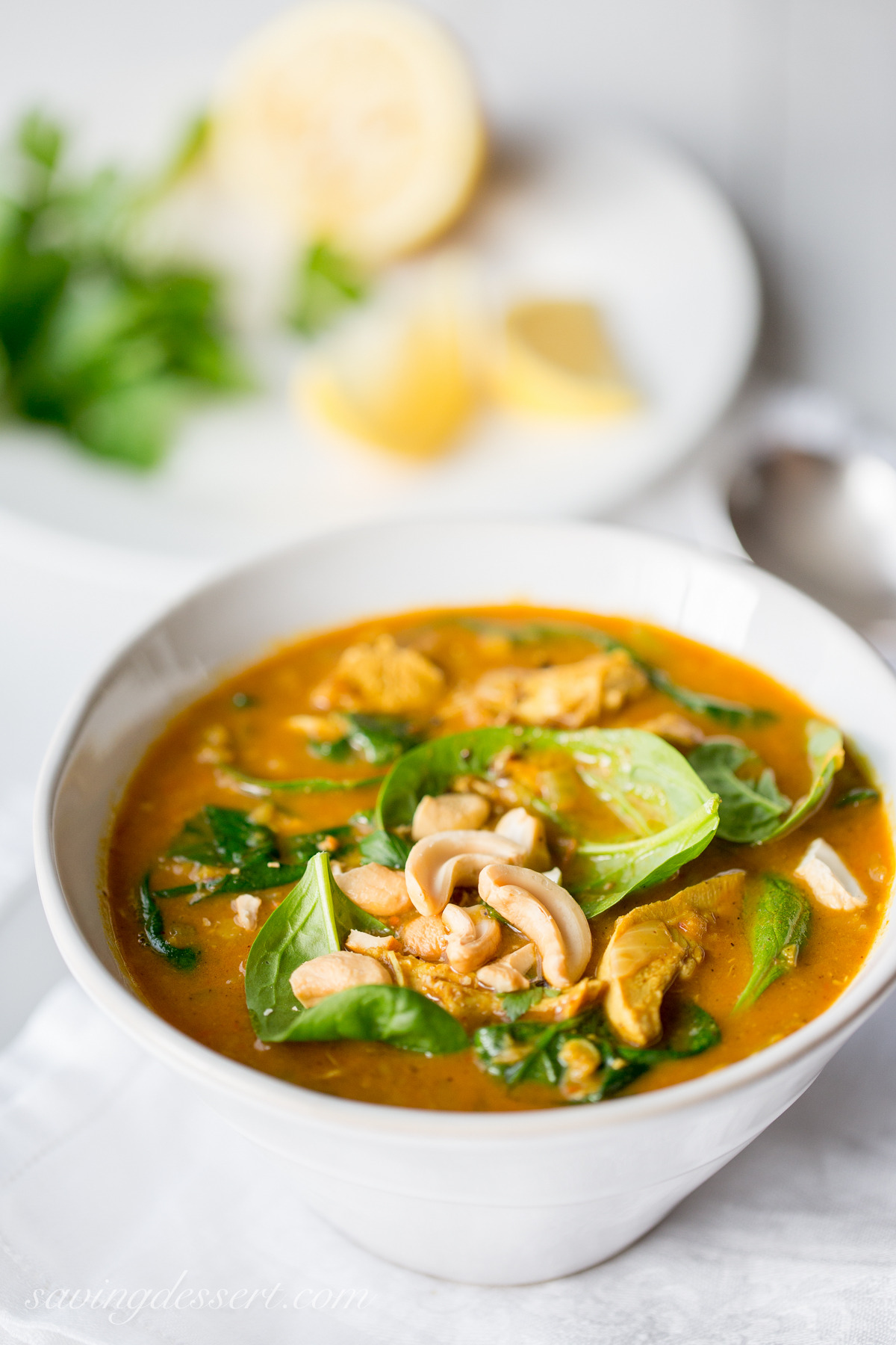 Creamy Coconut Chicken Soup with Spinach and Lentils